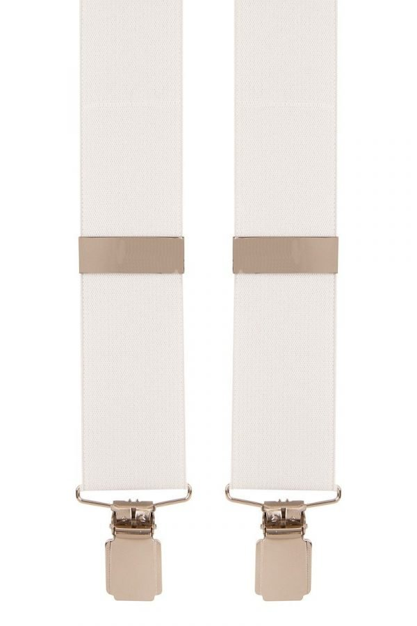 Classic Clip on Trouser Braces in White 35mm Straps Plain design white trouser braces with comfortable 35mm straps and sturdy end clips.