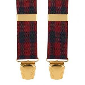 Tartan Plaid Trouser Braces in Red