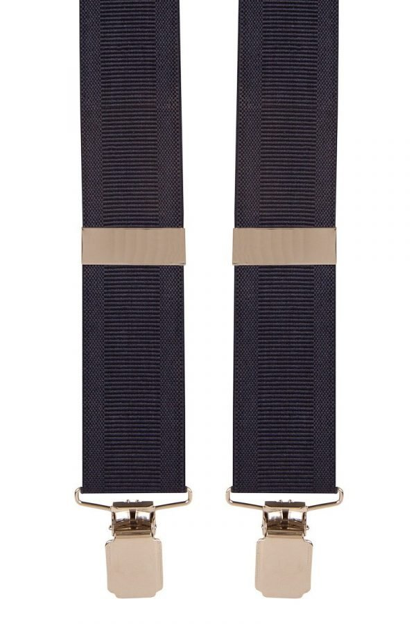 Classic Ribbed Trouser Braces in Navy