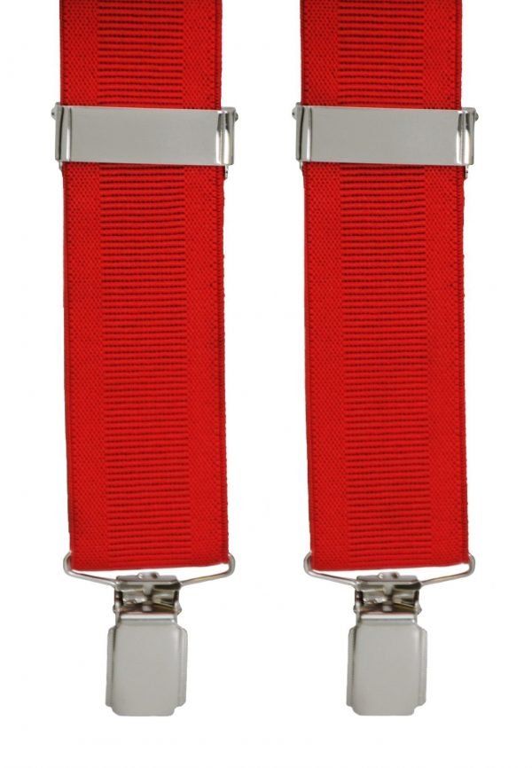 Classic Ribbed Trouser Braces in Red