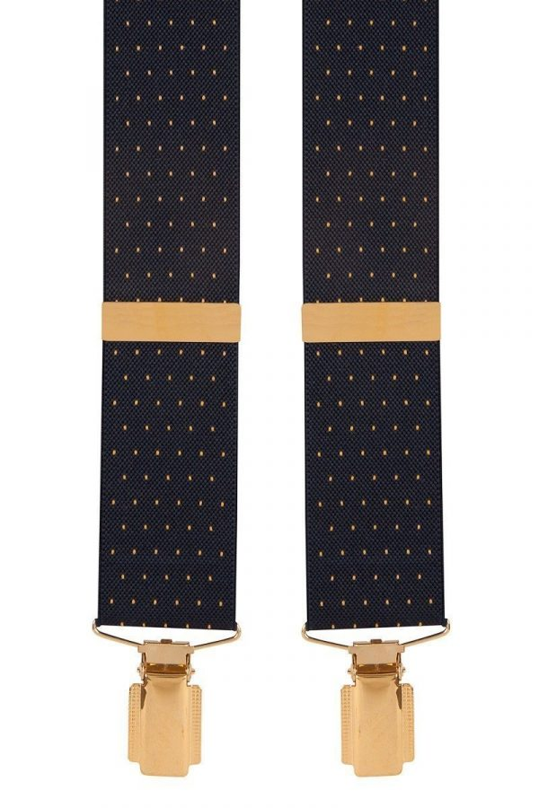 Polka Dot Extra Long Trouser Braces in Navy