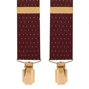 Polka Dot Extra Long Trouser Braces in Maroon