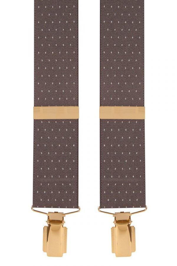Polka Dot Extra Long Trouser Braces Wide 35mm Straps in Grey