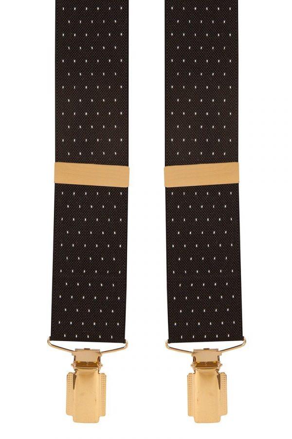 Polka Dot Extra Long Trouser Braces in Black