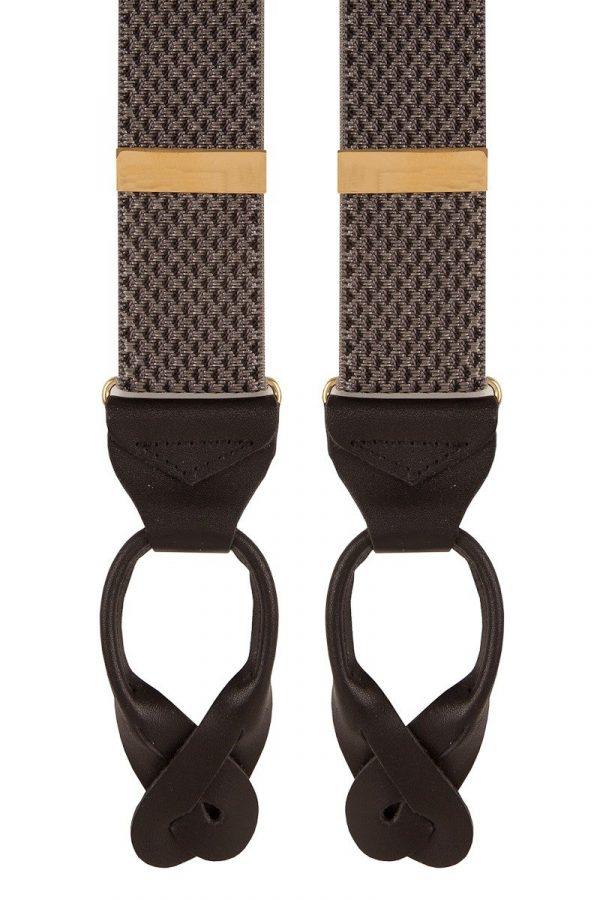 Woven Pattern Extra Long Trouser Braces in Grey Pattern