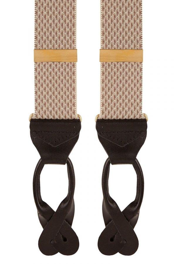 Woven Pattern Extra Long Trouser Braces in Beige Wide 35mm Straps