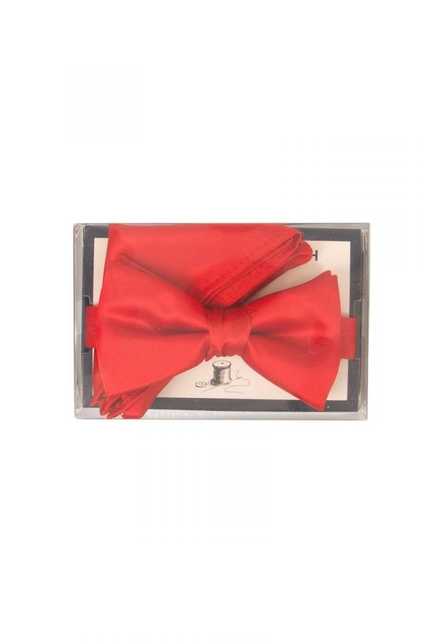 Satin Pre-Tied Co-ordinating Bow Tie in Red