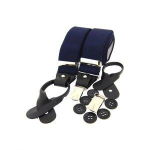 Dual Clip Navy Plain Trouser Braces in Navy